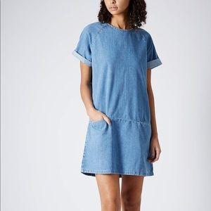 Topshop Moto short sleeve denim dress with pockets